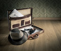 Detective's vintage briefcase Royalty Free Stock Photo