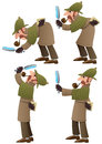 Detective set of illustrations of cartoon no transparency used basic linear gradients Royalty Free Stock Images