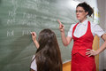 Detention female techer looking to her student with severe attitude Royalty Free Stock Images