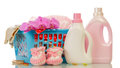 Detergent and baby's booties Royalty Free Stock Photo