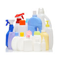 Detergent bottles empty on white background Stock Image