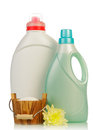 Detergent in bottles and flower isolated on white background Stock Photo