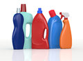 Detergent bottles set of in different colors d render Royalty Free Stock Photo