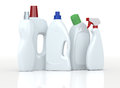 Detergent bottles set of with empty labels d render Royalty Free Stock Images
