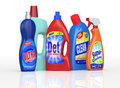 Detergent bottles set of with labels the labels are a my design and not a reproduction of commercial products d render Stock Photos