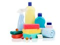 Detergent bottles on white chemical cleaning supplies Stock Photo