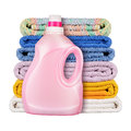 Detergent with towels isolated on white background Royalty Free Stock Image