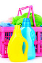 Detergents and towels in basket isolated Stock Photography