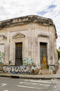 Deteriorated facade traditional and graffiti on the wall Stock Photography