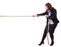 Determination businesswoman pull rope isolated on white background Stock Photo