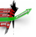 Determined arrow jumps over hole comeptitors give up one green with the word determination a and rises to success while other red Royalty Free Stock Image