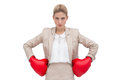 Determined businesswoman with boxing gloves a wearing hands on hips Stock Photography