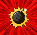 Detonation of bomb, cannonball. Burning wick, boom, explosion concept. Pop art retro comic style. Cartoon vector