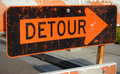 Detour sign with arrow Royalty Free Stock Images