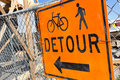 Detour sign close up of a Stock Images