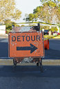 Detour sign in roadway Stock Photography