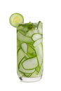 Detox cucumber and mint diet drink on white background. Royalty Free Stock Photo