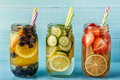 Detox fruit infused water. Refreshing summer homemade cocktail Royalty Free Stock Photo