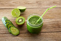 Detox green juice cleansing recipe with also kiwi lemon cucumber spinach Stock Images