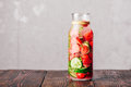 Detox Water with Strawberry, Cucumber and Thyme. Royalty Free Stock Photo