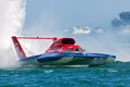 Detroit apba gold cup races july mike webster pilots the roostertail hydroplane during the finals at the july on the river in Royalty Free Stock Images