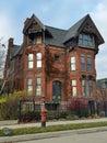 Detroit stary ceglany wiktoriański dom Zdjęcie Stock