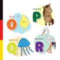 Deutsch alphabet. Olive oil, horse, jellyfish, heron. Vector letters and characters Royalty Free Stock Photo