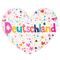 Deutschland heart shaped decorative lettering design Stock Images