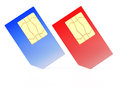 Deux cartes de SIM Photo libre de droits