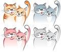 Deux chats dans l'amour. Vec artistique Photos stock