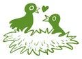 Deux oiseaux d amour dans leur nid Image stock