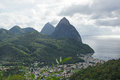 Deux pitons saint lucia caribbean view over soufriere with the famous volcano peaks of the in the background Royalty Free Stock Photo