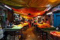 Devarai market in mysore of india devajara located sayyaji rao rd the native unusually busy and noisy goods is given priority to Royalty Free Stock Photo