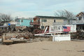 Devastated area in breezy point ny three months after hurricane sandy new york february on february more than houses Royalty Free Stock Photos
