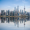 Developed city in shanghai pudong high angle view of skyline with reflection china Stock Images