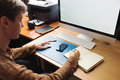 Developer or designer working at home freelance Royalty Free Stock Image