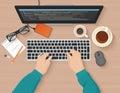 Developer working at computer. Programmer hands coding. Programming flat illustration concept. Vector top view.