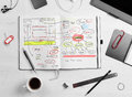 Developer workplace open notepad with hand drawn website project Stock Image