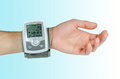 Device for blood pressure heart rate used at hand wrist Royalty Free Stock Photography