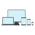Device mockup template. Set of modern devices isolated on white background. Flat vector illustration.