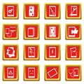 Device repair symbols icons set red