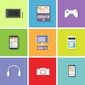 Device set color icon flat dsign vector illustration Stock Image