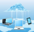 Devices connected to the cloud illustration of media like mobile phone laptop and desktop computer technology concept for Stock Image