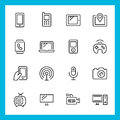 Devices and technology vector icons set thin line style Royalty Free Stock Image