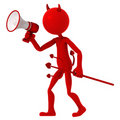 Devil agitate through megaphone Stock Image