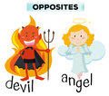Devil and angel characters on white