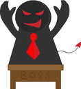 Devil boss cartoon with white isolated background Royalty Free Stock Image