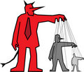 Devil controlling other people Stock Images