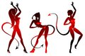 Devil dancing girls silhouettes set Stock Photo