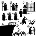 Devil demon satan hell underworld clipart human pictogram representing and this include gate or entrance and a killing a human Stock Image
